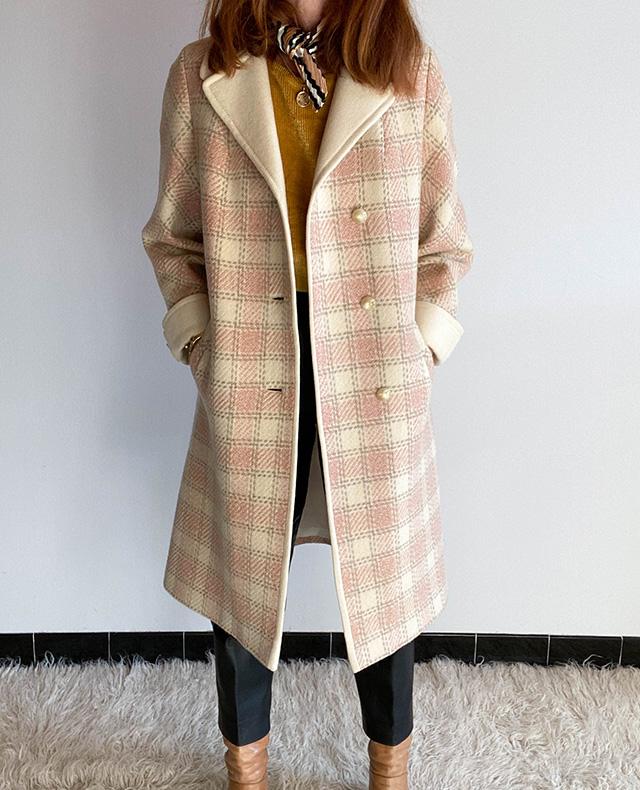 manteau-rose-oversize-carreaux-laine-vintage
